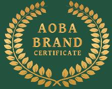 We display logo mark of green leaves brand