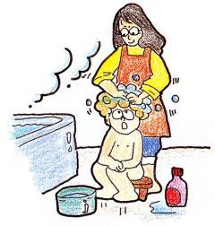 La imagen que lava su pelo en un baño