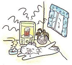 La imagen que el aire del cuarto se contamina con por una estufa o un cigarro