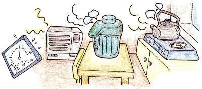 La imagen que se humedece con un humedecedor, una olla hirviente, la olla del fogón en el cuarto con el higrómetro
