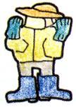 La imagen que lleva un traje del hazmat
