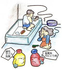 La imagen que uno y un gas venenoso produce a un limpiador