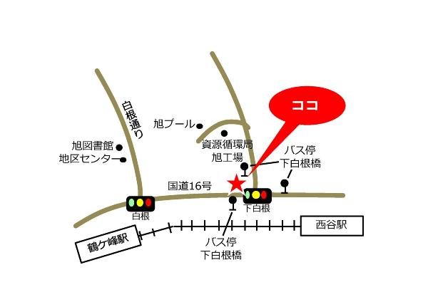 Yokohama-shi Shirane el mapa de plaza de cuidado de comunidad