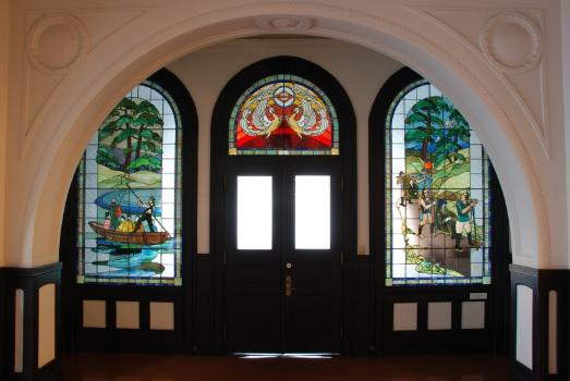 Stained glass of the opening of a port memory hall