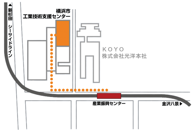 Routes from Sangyoshinkocenter Station to support center