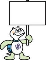 Imagen de tortuga Taro que tiene un letrero