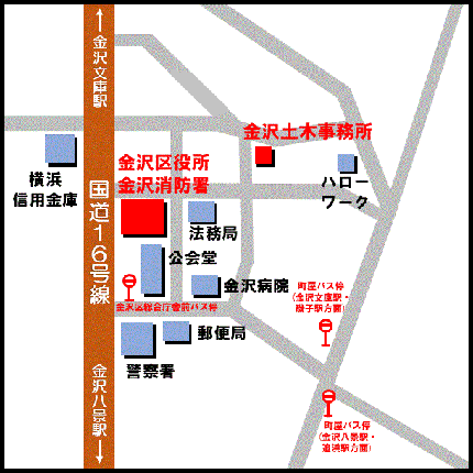 Guide maps from the nearest bus stop to ward office