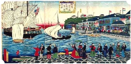 明治時代,來自橫濱港大學橋附近的眺望