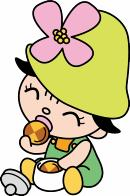 It is illustration of Ms. key eating cookies