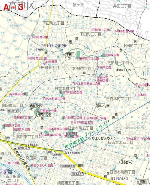 Kohoku Ward el mapa del parque UN-3