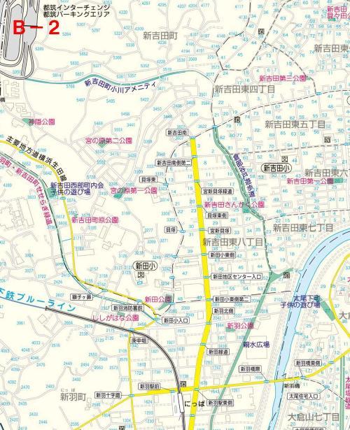 Kohoku Ward el mapa del parque B-2