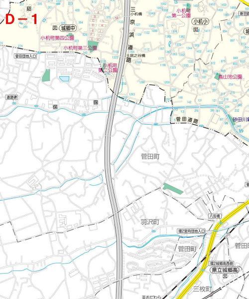 Kohoku Ward el mapa del parque D-1