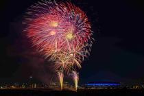Fotografía de la fiesta de la pirotecnia del Yokohama de la Espinilla
