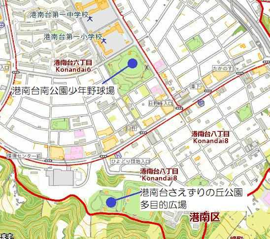 Campo del béisbol, mapa del espacio abierto del Konandai