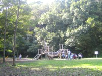 Children playing playground equipment in park