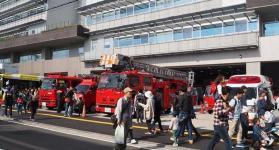 Ambulance, fire engine, photograph of municipal bus