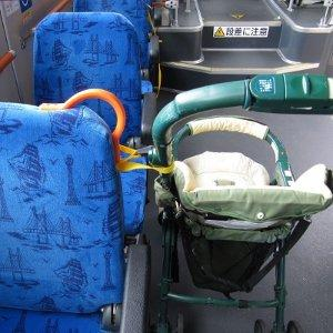 Be sure to put the stroller backward in the direction of travel.