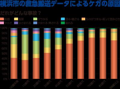 요코하마시의 구급 반송 데이터에 의한 상처의 원인의 그래프