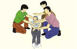 La figura de método 1 para llevar en tres personas