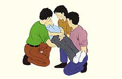 La figura de método 2 para llevar en tres personas