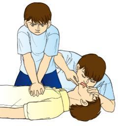 흉골 압박과 인공 호흡의 반복의 그림