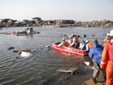 State of human life search activity with boat in Wakabayashi-ku