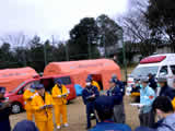In Azuma Sports Park of camping ground, it looks like each unit is dispatched after the meeting of urgent firefighting support corps Kanagawa battalion