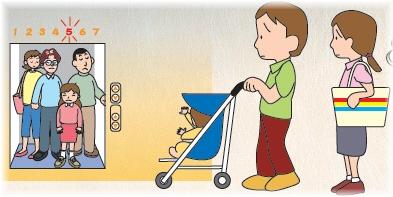电梯正满满地盖婴儿车的人感到困难的插图