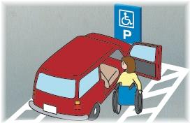 利用偏大的停车区划的轮椅使用者的插图