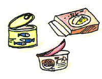 Illustration of canned foods, retort curry roux