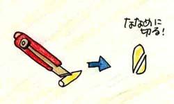 Ilustración para cortar diagonalmente con un cortador limpio cuando media cantidad usa un bougie