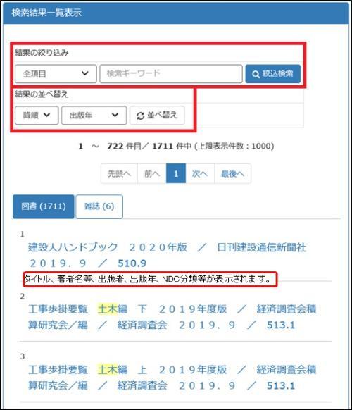 Lista de pantalla de indicación de resultados de búsqueda