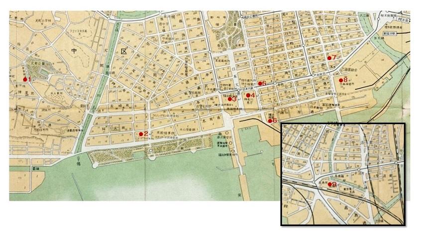 """Figura de la ciudad del Yokohama de la espinilla la parte central (el """"Yokohama-shi detalla traza"""" el lado atrás)"""