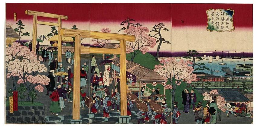 La imagen de la figura de Iseyama, Noge, Yokohama sub-apuntalaron el coche de vapor ferrocarril.