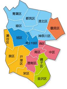 18 wards in Yokohama-shi