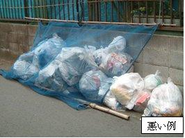 Ejemplo malo del lugar de basura que algunas bolsas de basura han salido