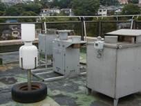 Photograph of device gathering acid rain