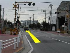 Photograph of railroad crossing
