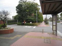 Photograph of bus stop in front of Toagosei Co., Ltd. Yokohama factory