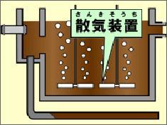 Ilustración del tanque de la reacción sección cruzada que el equipo de aeración era arrastrado