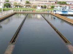 Fotografía de la última superficie de cubeta de sedimantation del agua