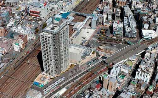 Around Tsurumi Station district aerial photograph
