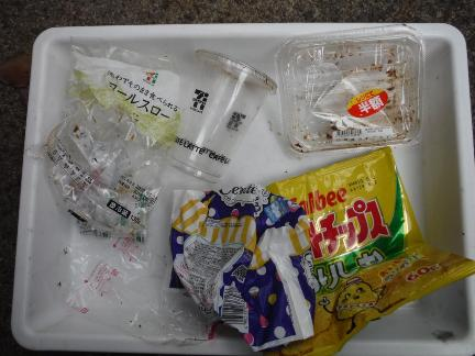 Container made of plastic such as food mixed with burnable garbage