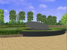 Above ground part image photograph of burying together-type memorial service monument type cinerarium facility