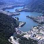 쓰쿠이 호수와 시로야마 댐의 사진