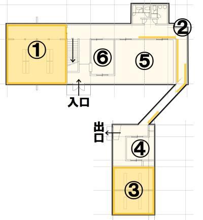 The first floor of the Yamashita area interchange center layout