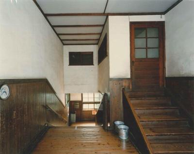 Photograph (2) of wooden stairs of the branch school era