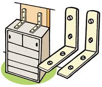 L-shaped metal fittings