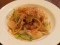 Photograph of aglio olio of cabbage and potato