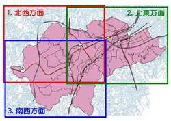 It is figure of index that divided Minami Ward in 3 areas